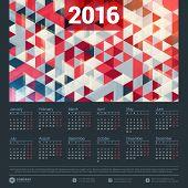 pic of monday  - Calendar 2016 Vector Design Template - JPG