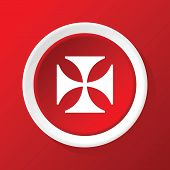 pic of maltese-cross  - Round white icon with image of maltese cross - JPG
