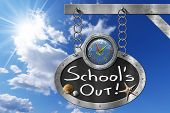image of oval  - Oval blackboard with a colorful clock and text School - JPG