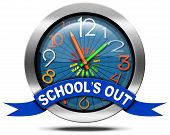 stock photo of clocks  - Metallic round icon or symbol with colorful clock with clock hands in the shape of colored pencils and blue ribbon with text School - JPG