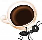 picture of ant  - Scalable vectorial image representing a ant carrying a cup coffee - JPG