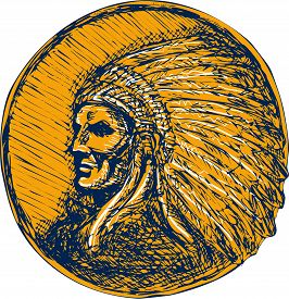 picture of indian chief  - Drawing illustration of a native american indian chief warrior with headdress facing side set on isolated background - JPG
