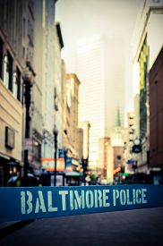 stock photo of safety barrier  - Retro Style Photo Of A Poice Riot Barrier In Baltimore - JPG