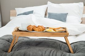 pic of continental food  - Tasty Breakfast On A Wooden Table Tray - JPG