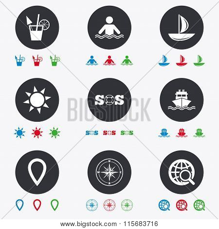 Cruise Trip Ship And Yacht Icons Travel Signs Poster Id115683716