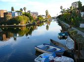 Boats On The Canals In Venice, California