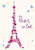 Eiffel Tower tower from hearts