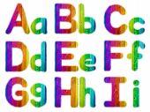 Letters A B C D E F G H I With A Wooden Rainbow Background
