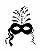 pic of masquerade mask  - Illustration close up black carnival mask isolated on white background  - JPG