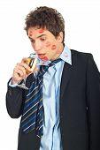 Drunk  Kissed Man Driniking Wine