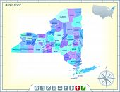 New York State Map with Community Assistance and Activates Icons Original Illustration