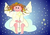 Cute Angel With A Star Sitting On A Cloud poster