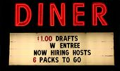 Red Neon Diner Sign With Text