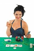 Attractive Gambler Woman
