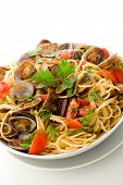Pasta With Clams On White Isolated Background