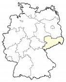 Map of Germany, Saxony highlighted