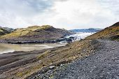 Footpath To Solheimajokull Glacier In Iceland poster