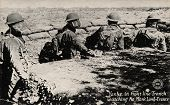 FRANCE - CIRCA 1900: Yanks in Front Line Trench - Early 1900 postcard depicting Yanks in front line trench watching â??No Manâ??s Landâ?? during WWI in France, circa 1914-1918.