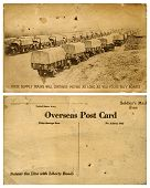 USA â?? CIRCA 1914-1918: Vintage WWI postcard, front & back, promoting the buying of US Liberty Bonds to keep supply trains moving needed supplies to troops, USA, circa 1914-1918.