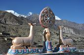 Brahma Symbol On Muktinath Temple On The Mountains Background,nepal