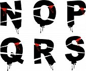 Halloween Blutungen Grunge Alphabete (Vector) - Teil eines vollständigen Satzes
