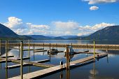picture of dock a pond  - Small boats docked in Salmon Arm Lake British Columbia Canada - JPG