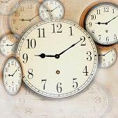 Grunge Photo Collage With Clocks