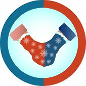 The Concept Of Love And Relationship Is One Mittens For Two. Red And Blue Mittens For Two As A Symbo poster