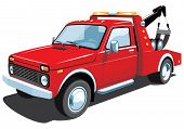 picture of wreckers  - Vector isolated red tow truck on white background without gradients - JPG