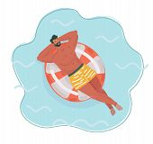 Vector Cartoon Illustration Of Man Resting On Floating Red Rubber Ring On Swimming Pool Water. Summe poster