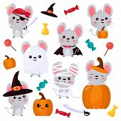 Vector Set Of Mouse Characters, Halloween Kawaii Cartoon Style. Rats Dressed Up In Costumes For Hall poster