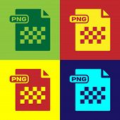 Color Png File Document. Download Png Button Icon Isolated On Color Background. Png File Symbol. Vec poster