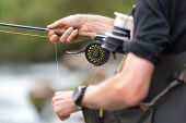 Man Fly Fishing With Reel And Rod. Sport Fly Fisher Man Close Up On Reel . poster