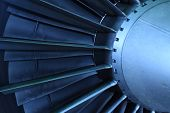 stock photo of afterburner  - jet engine turbo fan haft ring color blue - JPG