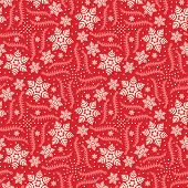 Hand Drawn Abstract Winter Snowflakes Pattern. Stylish Crystal Stars On Red Background. Elegant Simp poster
