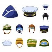 Vector Design Of Army And Officer Icon. Collection Of Army And Soldier Stock Symbol For Web. poster