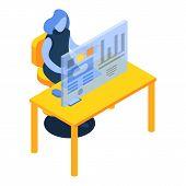 Woman Desktop Futuristic Graph Icon. Isometric Of Woman Desktop Futuristic Graph Icon For Web Design poster
