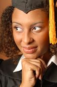 picture of black curly hair  - Young woman on her graduation day calm and thoughtful - JPG