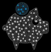 Glossy Mesh Piggy Bank With Lightspot Effect. Abstract Illuminated Model Of Piggy Bank Icon. Shiny W poster