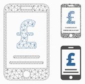 Mesh Pound Mobile Payment Model With Triangle Mosaic Icon. Wire Carcass Triangular Mesh Of Pound Mob poster