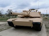 stock photo of abram  - A side view of a M1 Abrams main battle tank.