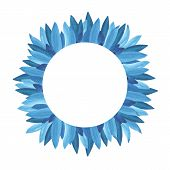 Floral Greenery Card Design: Branch Blue Leaves Foliage Herb Round Greenery Frame. poster