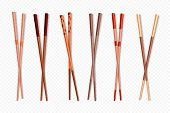 Food Chopsticks. Wooden Chinese Sticks For Asian Dishes, Different Types Of Colorful Bamboo Food Sti poster