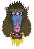 Mandrill Vector Cartoon Illustration