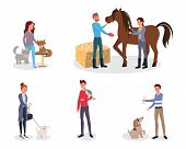 Pet Owners Vector Illustrations Set. Cartoon People Taking Care Of Domestic Animals, Cats, Dogs. Mal poster