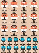 stock photo of dork  - Retro businessman character in 12 different emotions and 24 versions. 
