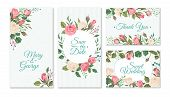 Wedding Card With Roses. Weddings Floral Invitation Cards With Red And Pink Roses And Green Leaves.  poster