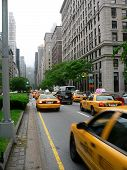 Taxis on Park Avenue in New York City.