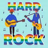 Hard Rock Band Musicians. Music Concert. Modern Sound. Typography, Hard Rock Lettering, Group Of Mus poster
