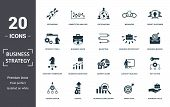 Business Strategy Icon Set. Contain Filled Flat Business Vision, Business Value, Brand Strategy, Bus poster